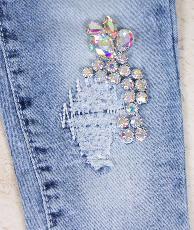 Girls' White Butterfly Jeans - Elma's Clothing