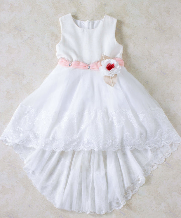 Girls' White Seline Dress - Elma's Clothing