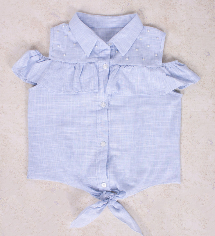 Pearl and Denim Blouse - Elma's Clothing