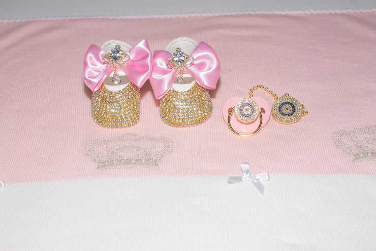 Pink Crystal Pacifier with Clip - Elma's Clothing
