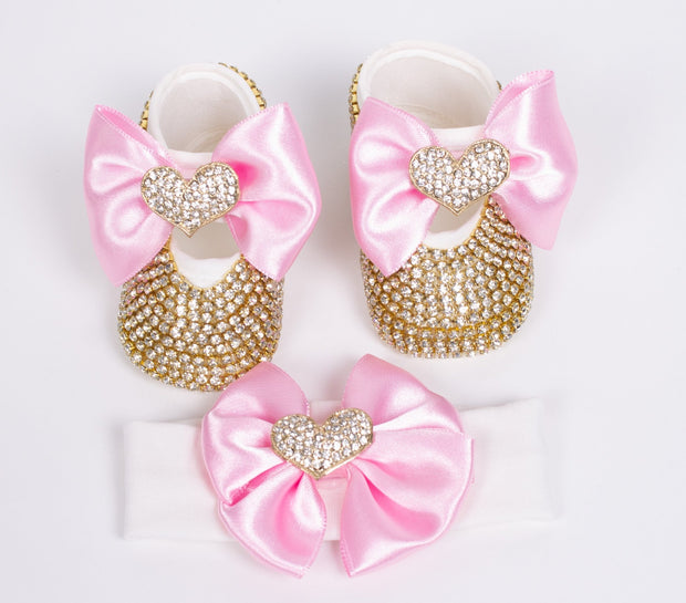 Pink Golden Heart Shoes with Headband - Elma's Clothing