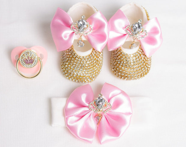 Pink Crown Pacifier and Clip