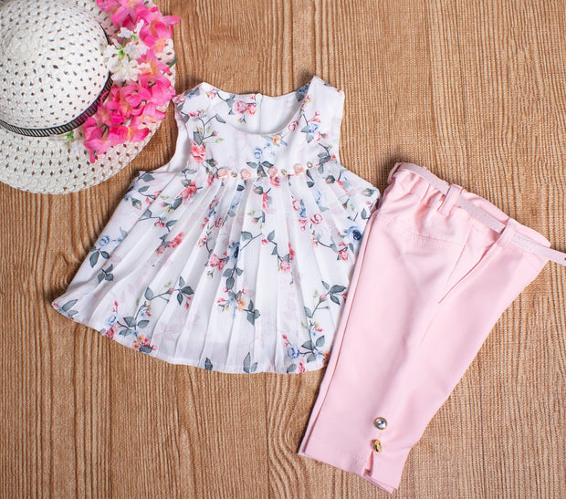 Pink Rose Set With Capri Pants - Elma's Clothing