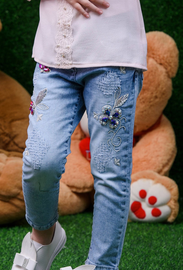 Red Flower Jeans - Elma's Clothing