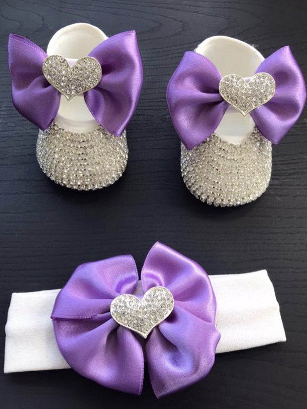 Silver Violet Heart Shoes - Elma's Clothing