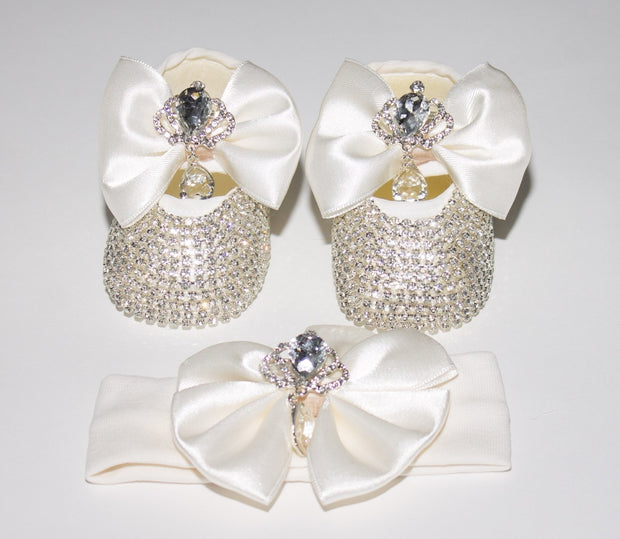 White Silver Crown Shoes - Elma's Clothing