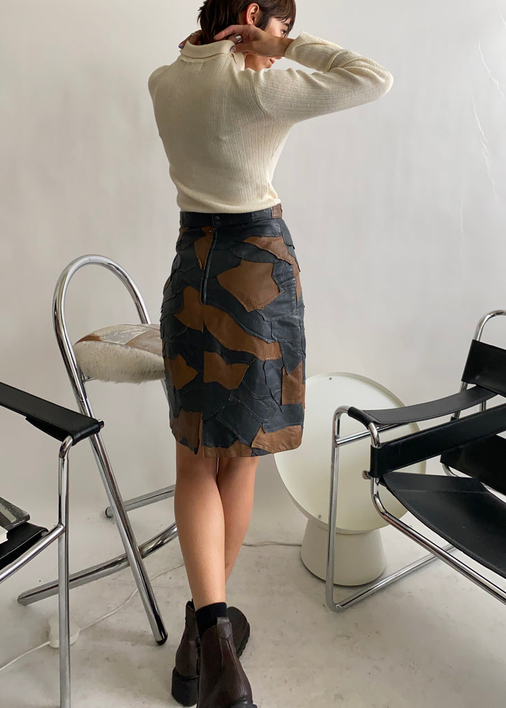 The Patchwork Leather Skirt