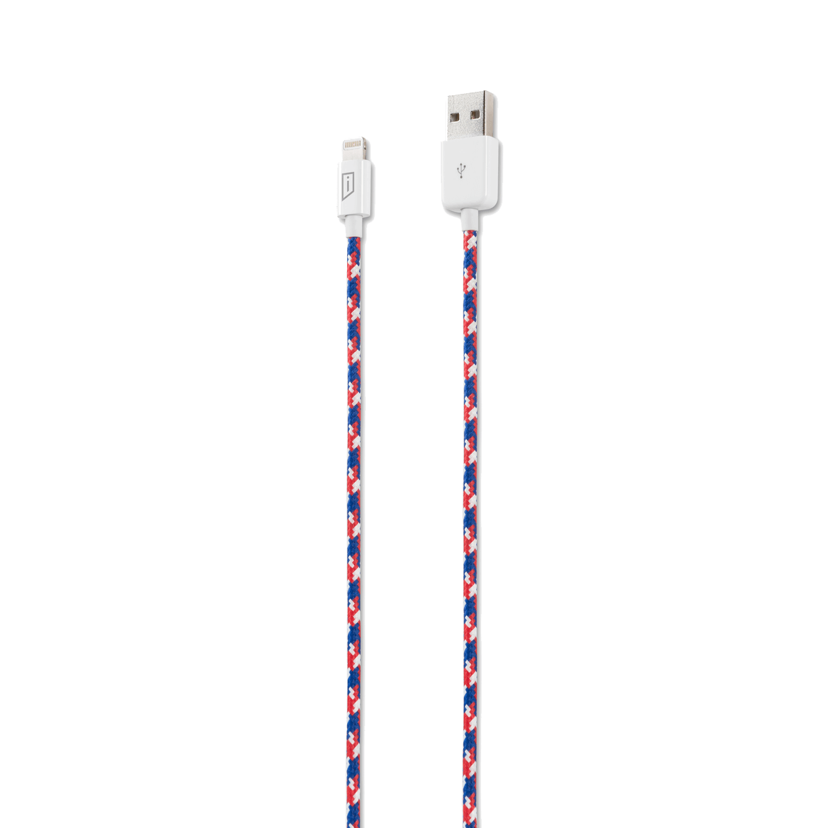 iStore Lightning Charge 4ft (1.2m) Marbled Woven Cable (Red/White/Blue)