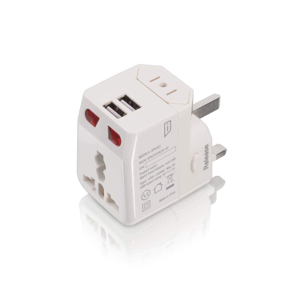 iStore World Travel Adapter with Dual USB Charging Ports