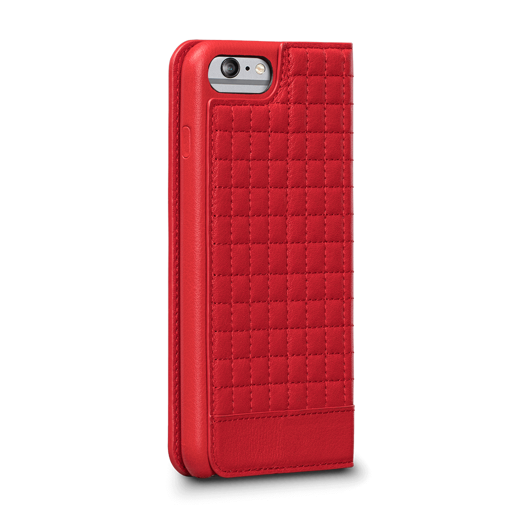 Isa Quilted Wallet Leather Case for iPhone 6s Plus, 6 Plus (Red)