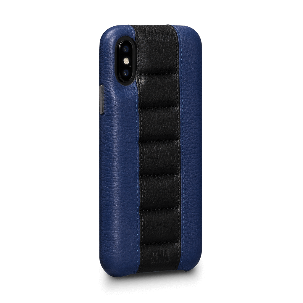 Racer Snap On Leather Case for iPhone X and XS (Blue / Black)