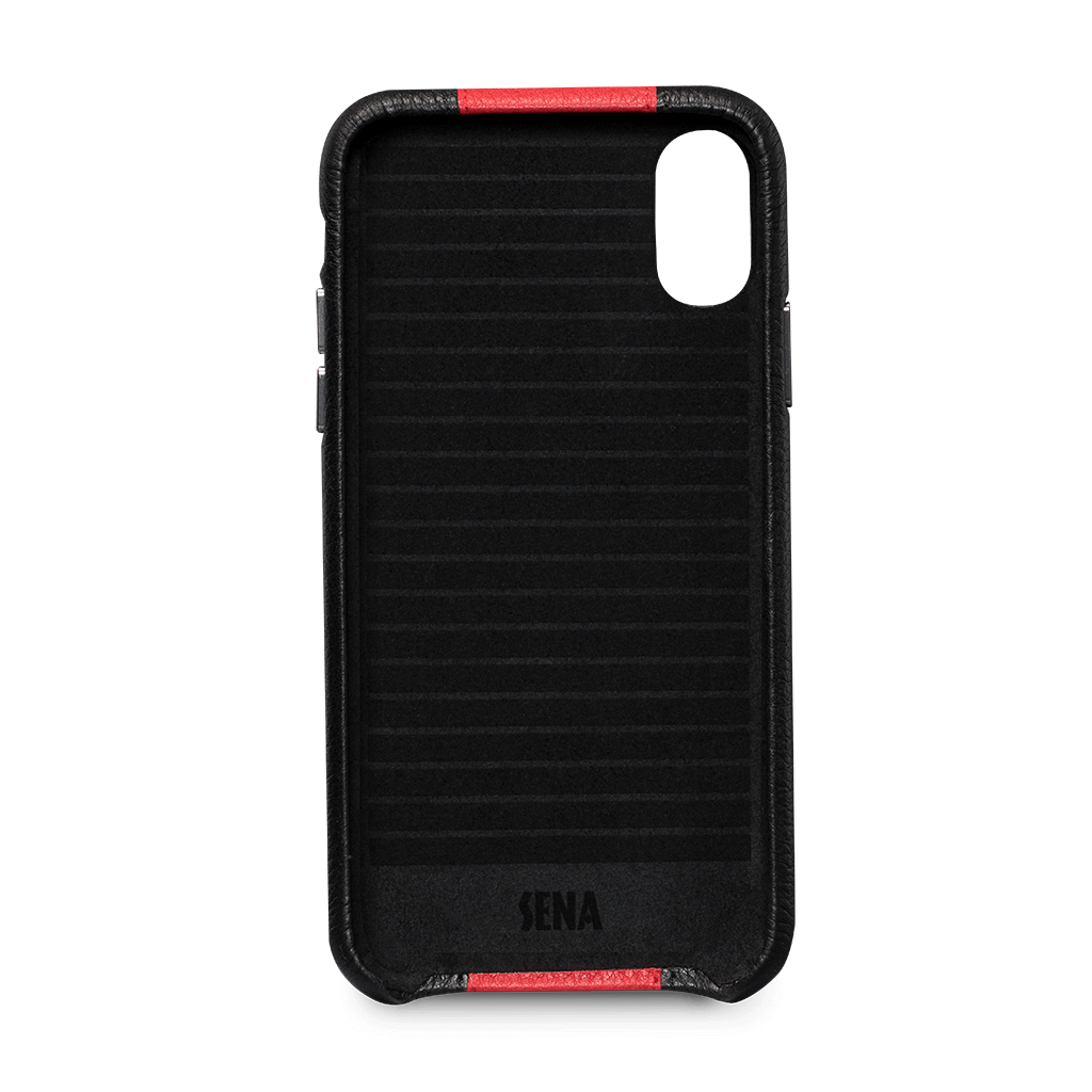 Racer Snap On Leather Case for iPhone X and XS (Black / Red)