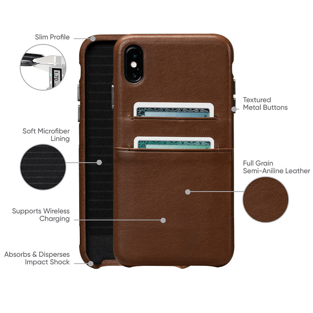 Deen Leather Snap On Wallet Case for iPhone XS Max (Saddle)