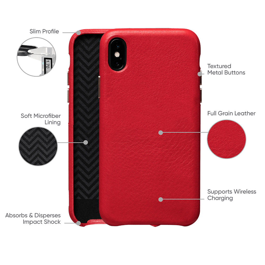 Kyla Leatherskin Snap On Case for iPhone XS Max (Red)