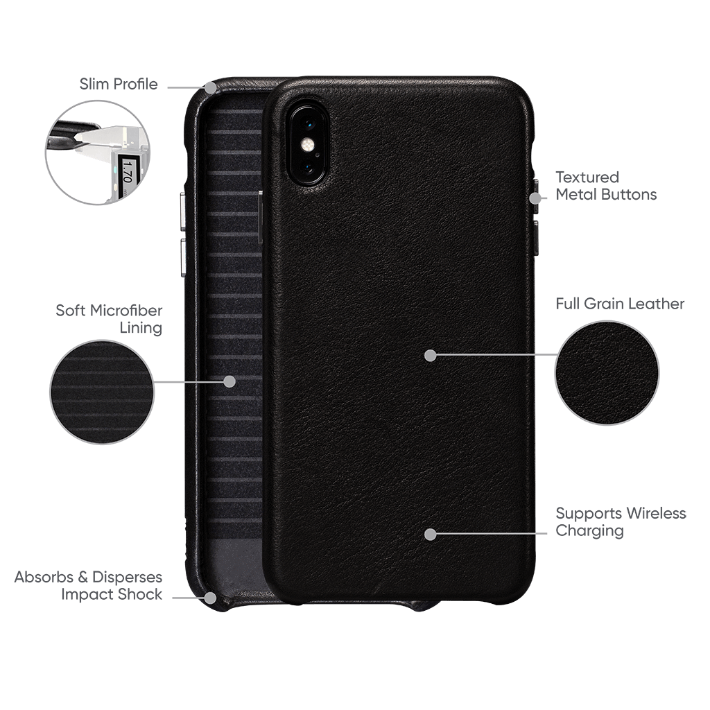 Deen Leatherskin Snap On Case for iPhone XS Max (Black)
