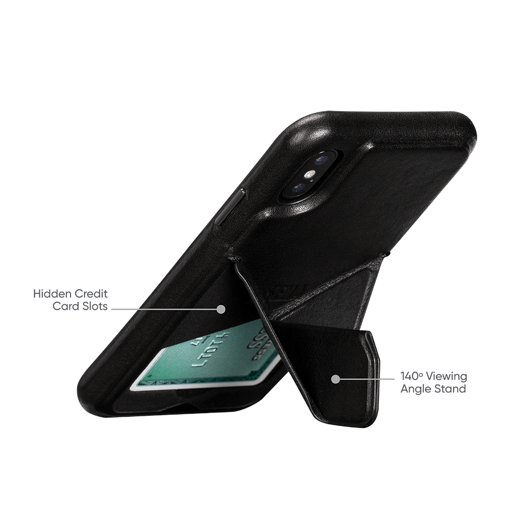 Vista Leather Case with Stand for iPhone X and XS (Black)