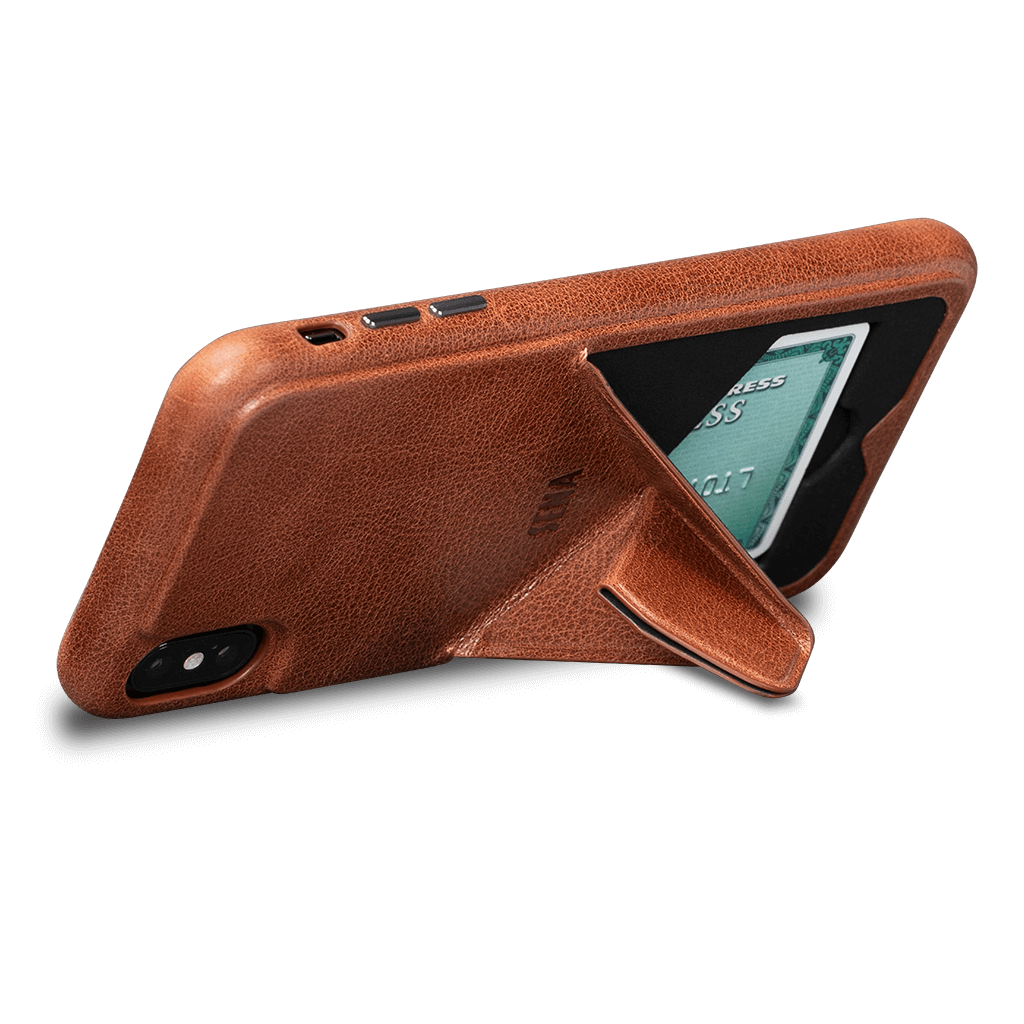 Vista Leather Case with Stand for iPhone XS Max (Cognac)