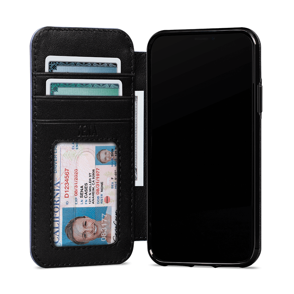 Wallet Book for iPhone 11 Pro Screen Protector Bundle (Black/Periwinkle)