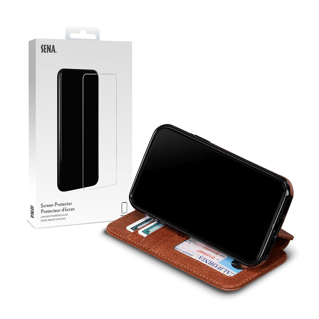 Wallet Book for iPhone 11 Pro Screen Protector Bundle (Cognac)