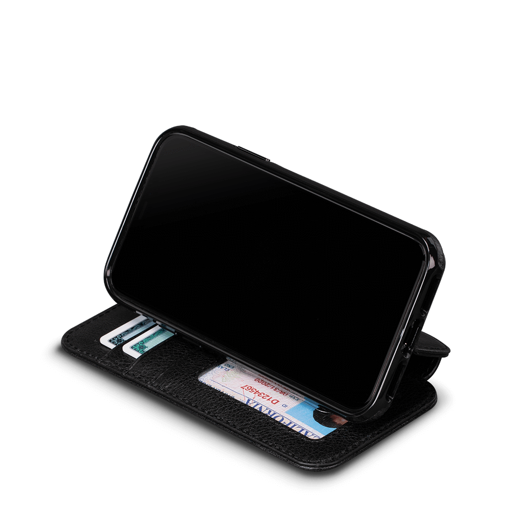 Wallet Book for iPhone 11 Pro Max  Screen Protector Bundle (Black)