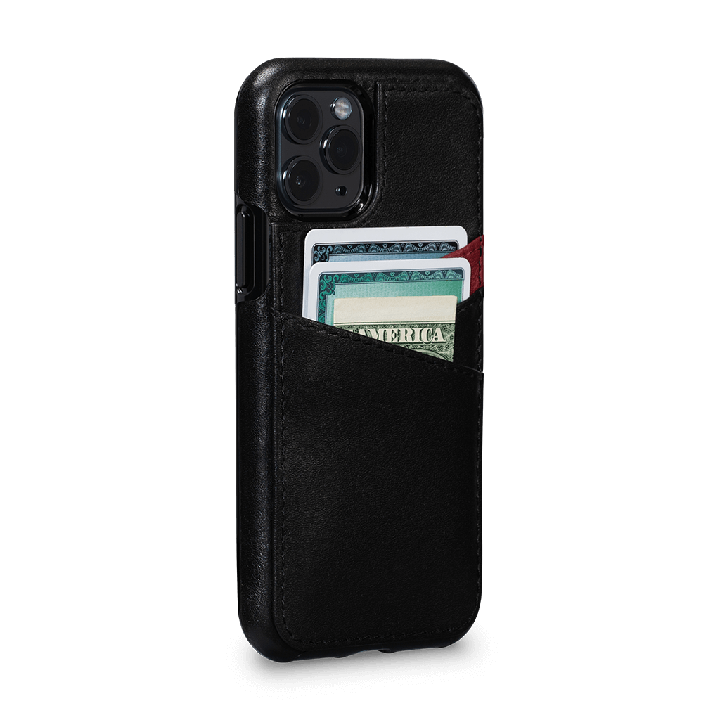 Lugano Wallet Case for iPhone 11 Pro (Black/Bordo)