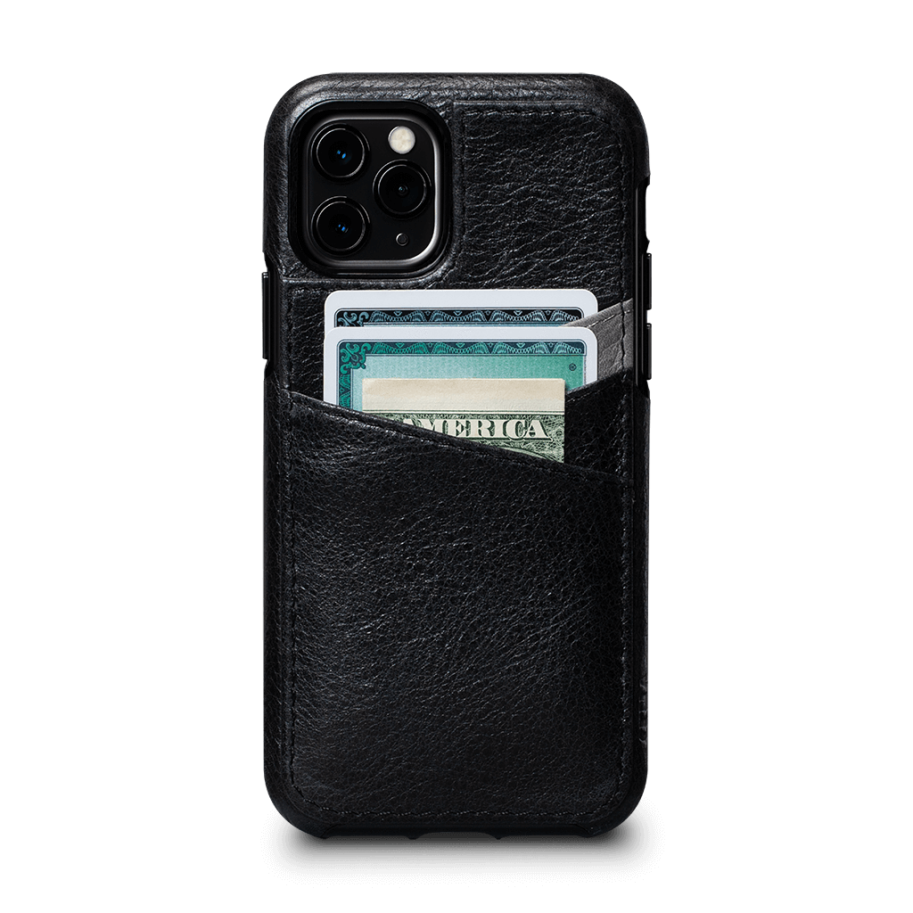 Lugano Wallet for iPhone 11 Pro Screen Protector Bundle (Black/Grey)