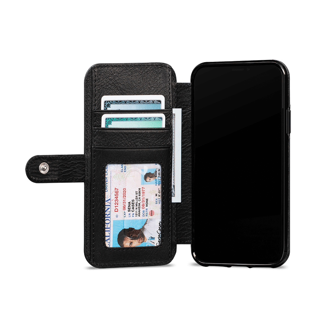 Wallet Book Classic for iPhone 11 Screen Protector Bundle (Black)
