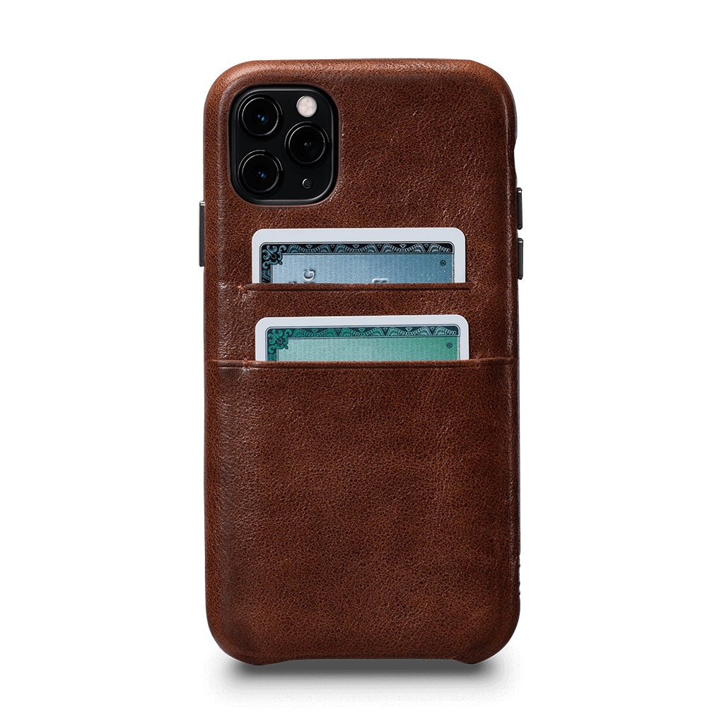 Snap On Wallet for iPhone 11 Pro Screen Protector Bundle (Cognac)