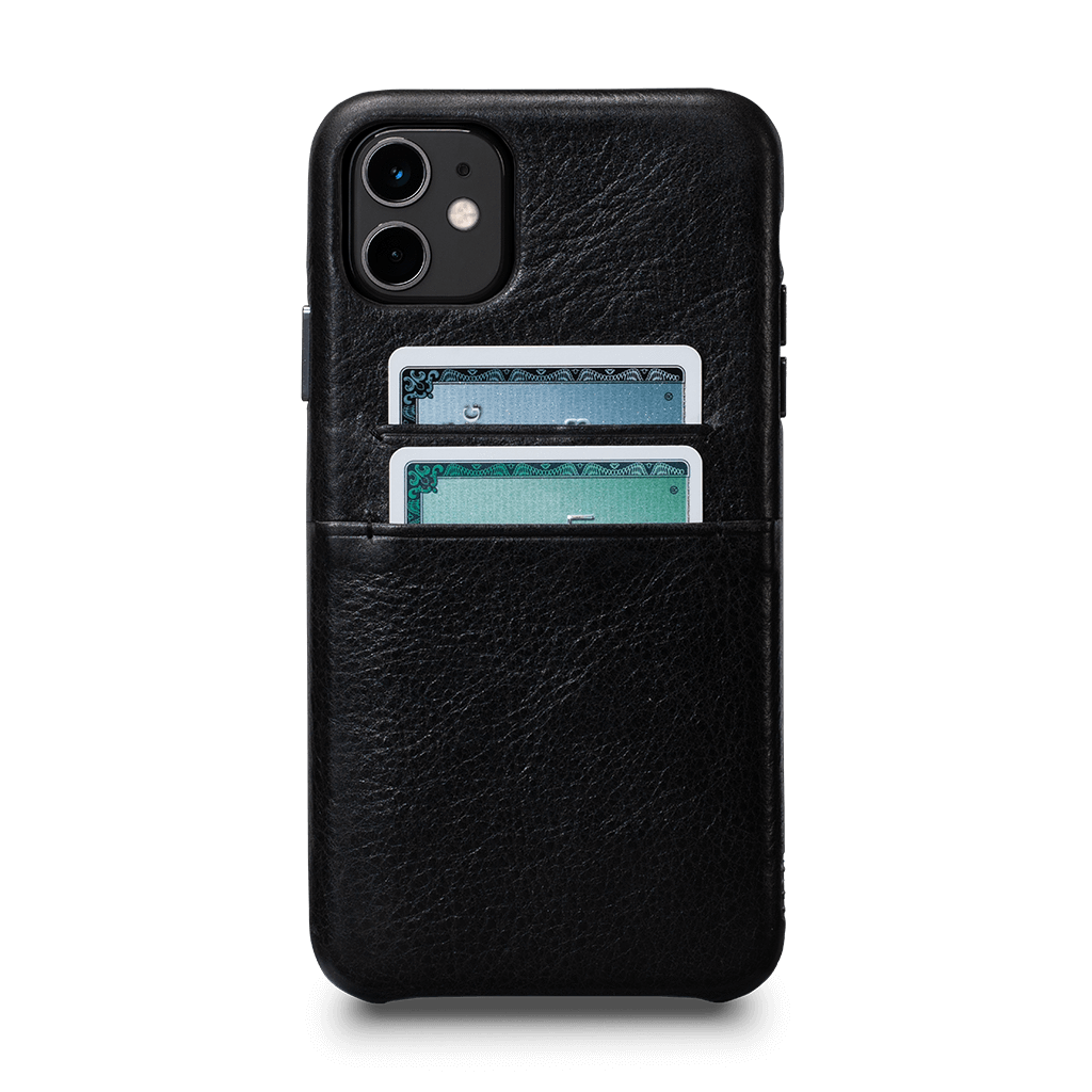 Snap On Wallet for iPhone 11 Screen Protector Bundle (Black)