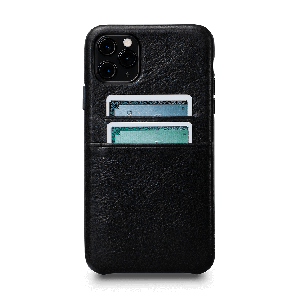 Snap On Wallet for iPhone 11 Pro Max Screen Protector Bundle (Black)