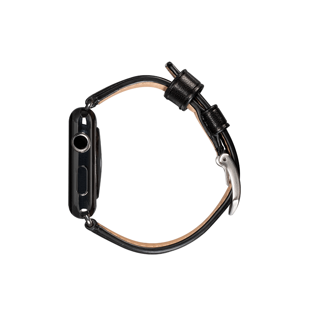 Deen Leather 42mm / 44mm Apple Watch Band (Black)