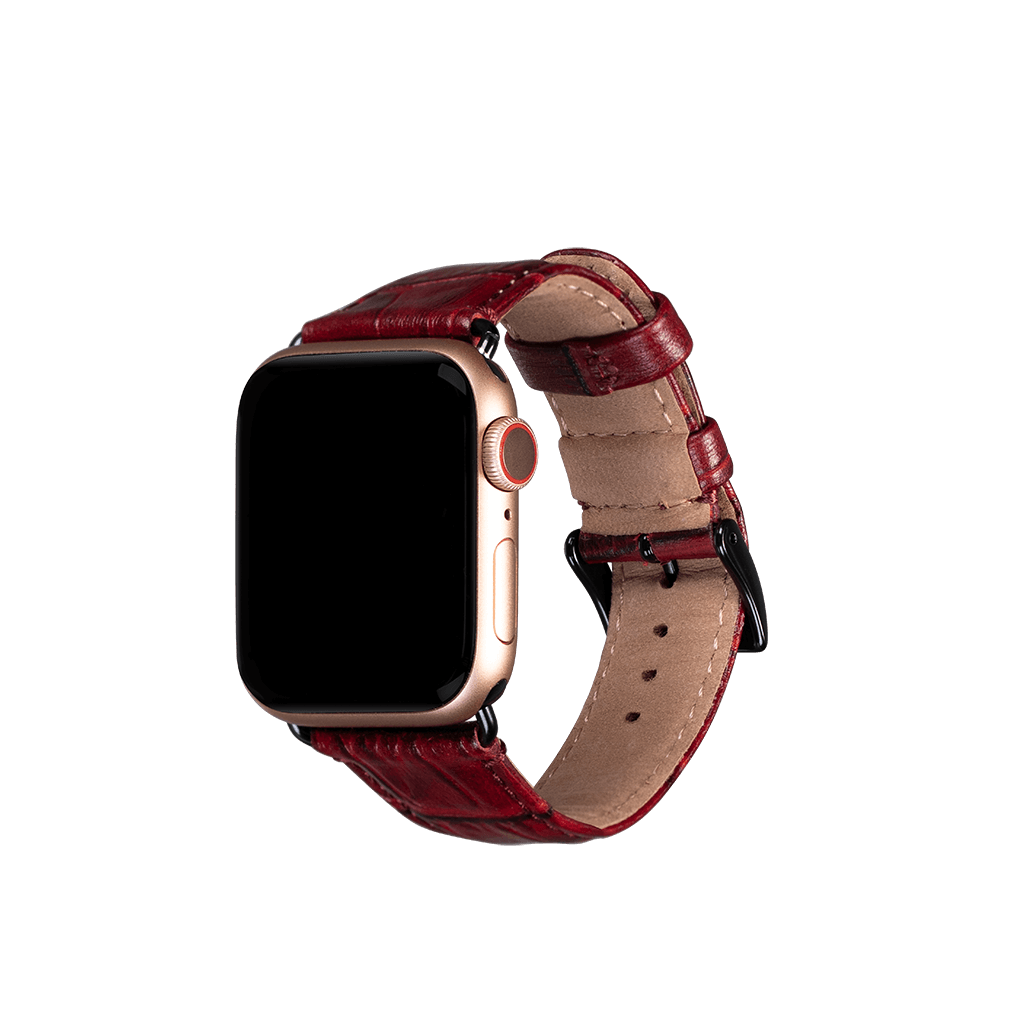 Leather 38mm/40mm Apple Watch Band (Croco Red)