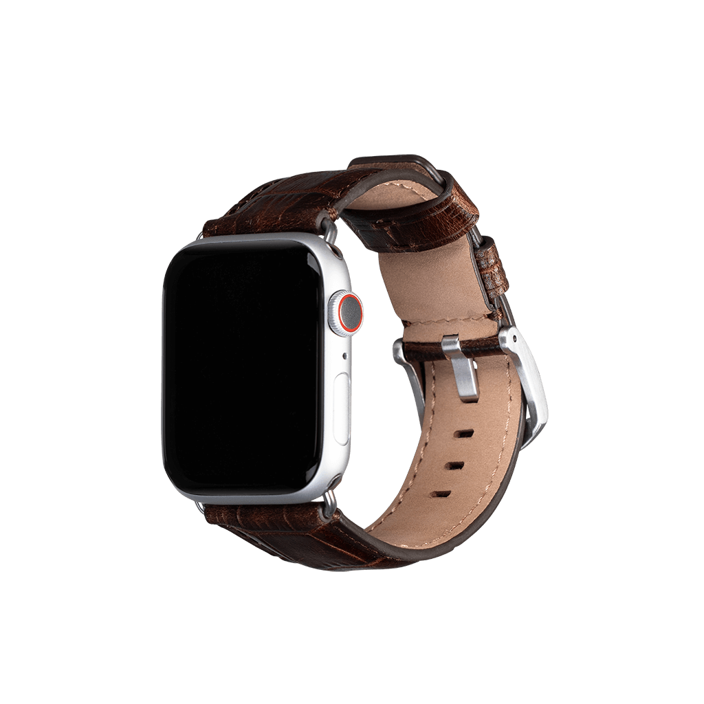 Leather 42mm /44mm Apple Watch Band (Croco Brown)