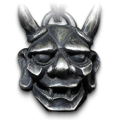 Oni Mask (Silver) Skull Necklace
