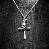 Bone Cross (Silver) Skull Necklace