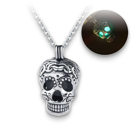 Illuminated Sugar Skull (Silver) Skull Necklace
