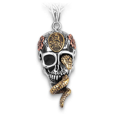 Snake & Flowers (Silver) Skull Necklace