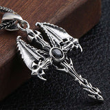 Wings (Silver) Skull Necklace