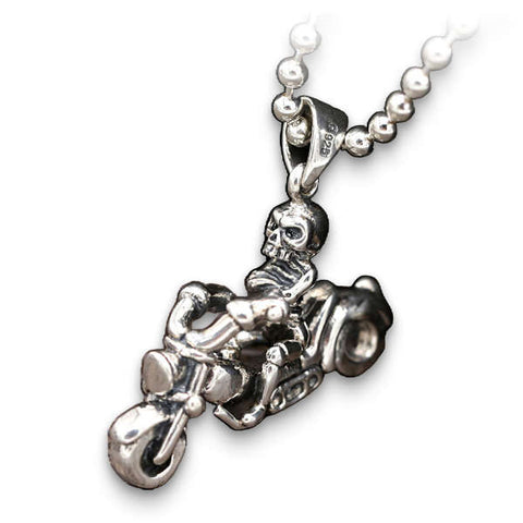 Motorcycle (Silver) Skull Necklace