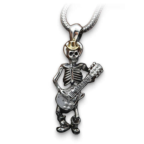 Guitar (Silver) Skull Necklace