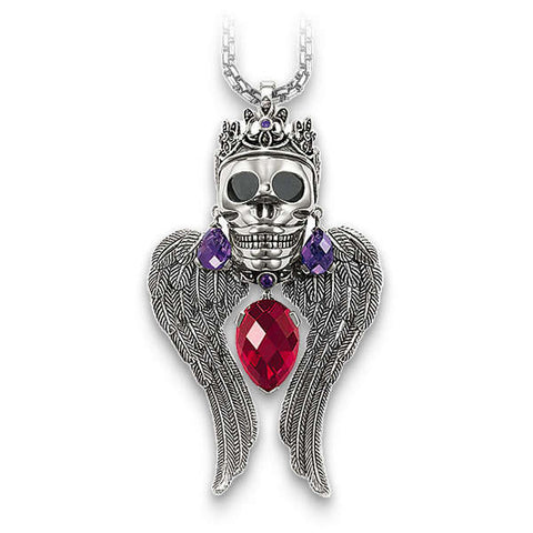Gothic Crown (Silver) Skull Necklace