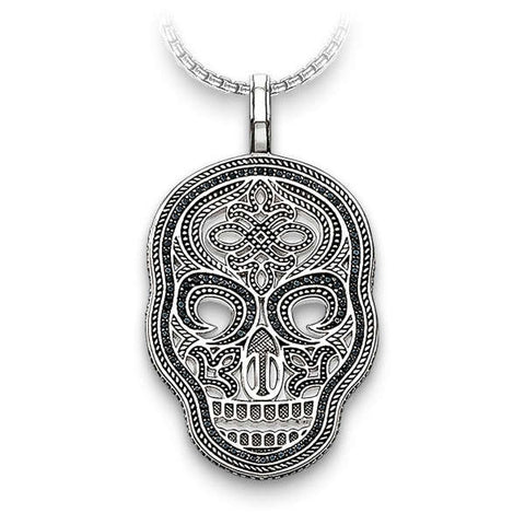 Mask Pave (Silver) Skull Necklace