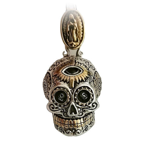 Sugar Skull (Silver) Skull Necklace