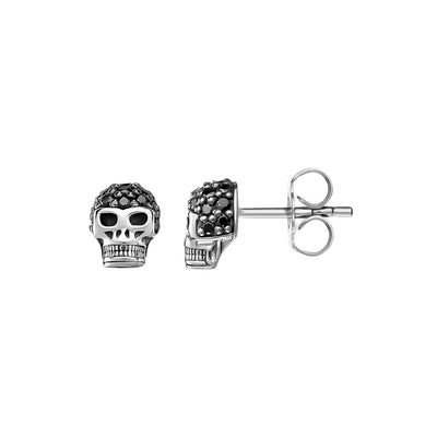 Black Diamond Skull Earrings