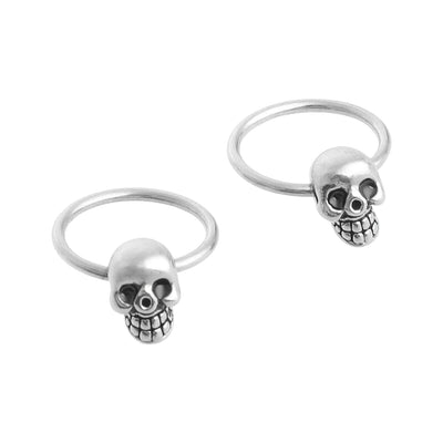 Silver Skull Hoop Earrings