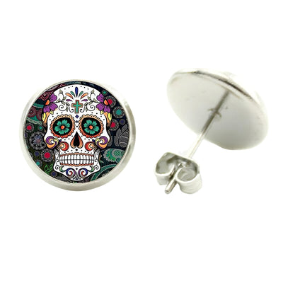 Silver Sugar Skull Earrings
