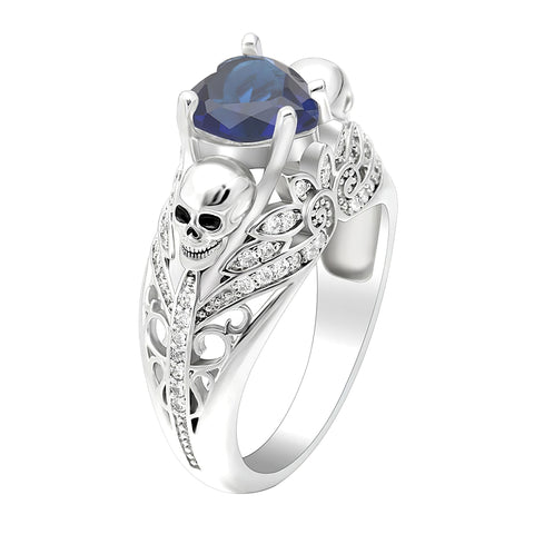 Skull Ring with Sapphire Stone for Women