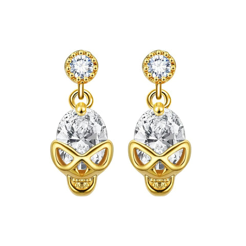 Skull and Crossbones Earrings Gold