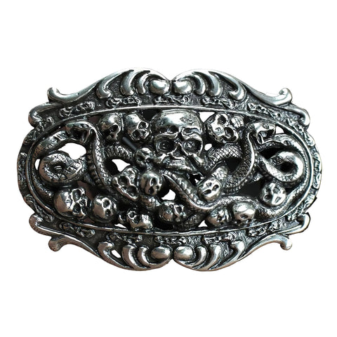 Sterling Silver Skull Belt Buckle | Unholy Skull