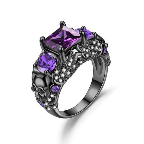 Women's Amethyst Skull Ring